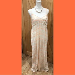 JCrew Linen Peaches and Cream Striped Maxi Large